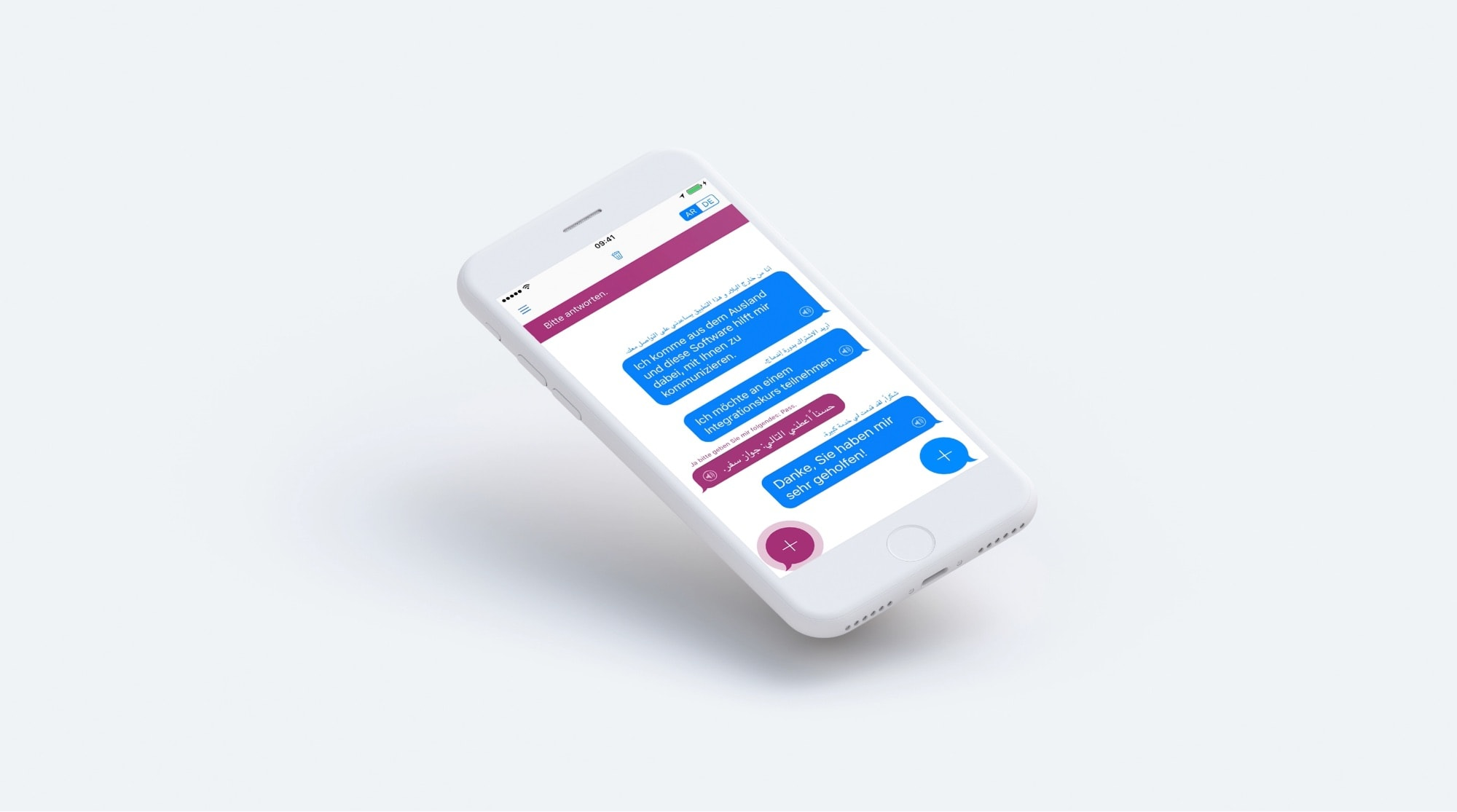 Mobile design for Arabic-German translation app for refugees