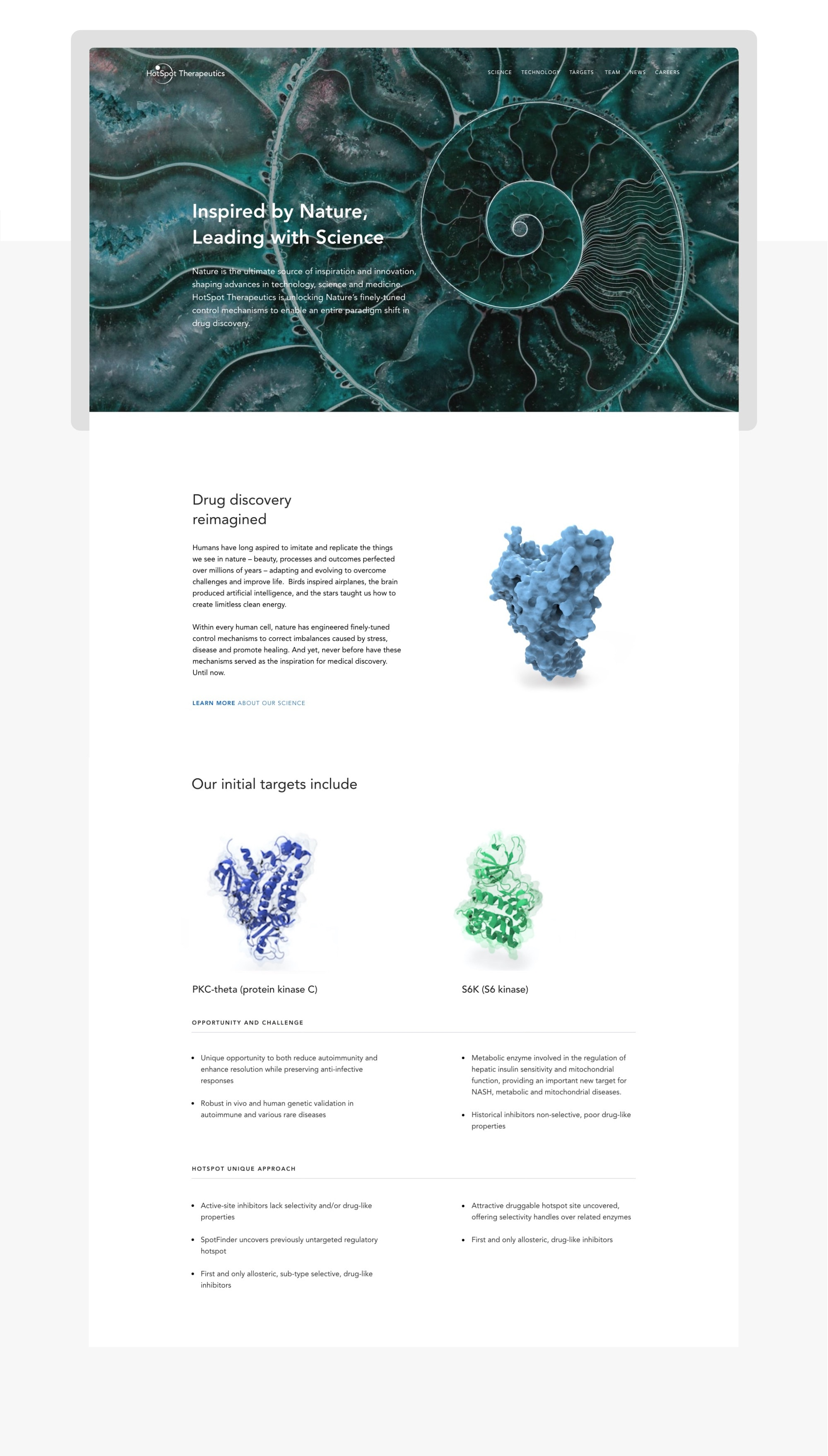 Home page of HotSpot Therapeutics showing innovative biotech approach